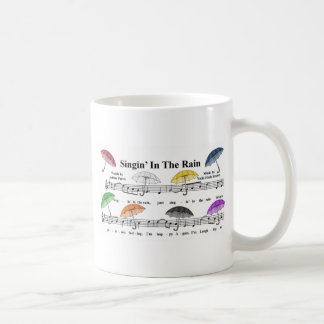 Umbrellas w/Sheet Music Background Coffee Mug