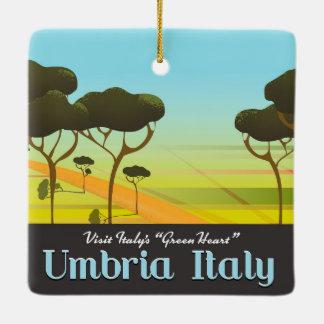 Umbria Italy travel poster Ceramic Ornament