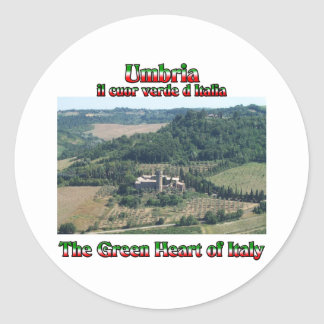 Umbria the Green Heart of Italy Classic Round Sticker