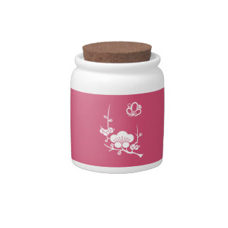 Ume branch & shadowed butterfly-shaped ume blossom candy jars
