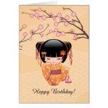 Ume Kokeshi Doll - Japanese Peach Geisha Girl Card