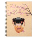 Ume Kokeshi Doll - Japanese Peach Geisha Girl Notebook