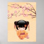 Ume Kokeshi Doll - Japanese Peach Geisha Girl Poster