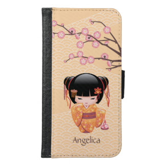 Ume Kokeshi Doll - Japanese Peach Geisha Girl Samsung Galaxy S6 Wallet Case