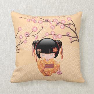 Ume Kokeshi Doll - Japanese Peach Geisha Girl Throw Pillow