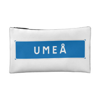 Umea, Swedish road sign Cosmetic Bags