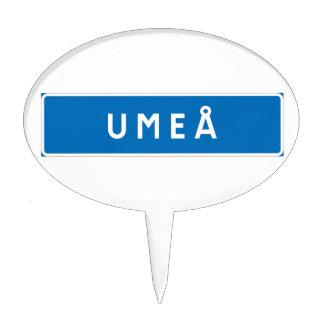 Umea, Swedish road sign Cake Picks