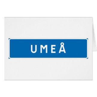 Umea, Swedish road sign Greeting Cards