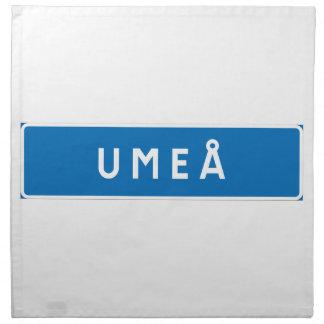 Umea, Swedish road sign Printed Napkin
