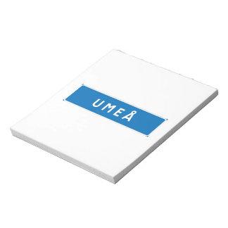 Umea, Swedish road sign Memo Notepads