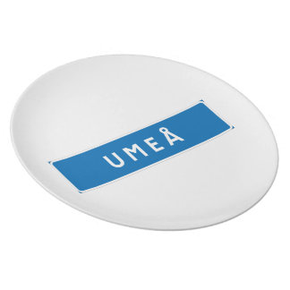 Umea, Swedish road sign Dinner Plate