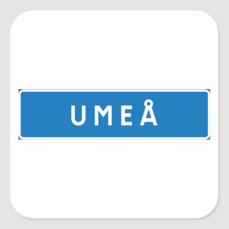 Umea, Swedish road sign Square Stickers