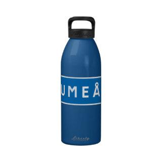 Umea, Swedish road sign Water Bottles