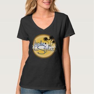 UMOL LypheStyles Logo Palm Trees Women's V-Neck T-Shirt