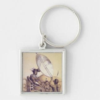 Umpanda el rey del Amazulu, 1849 Llavero Cuadrado Plateado