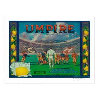 Umpire Lemon LabelClaremont, CA Postcard