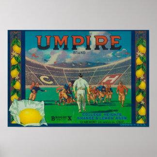 Umpire Lemon LabelClaremont, CA Posters