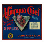Umpqua Chief Apple Crate LabelSutherlin, OR Poster