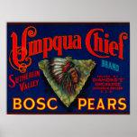 Umpqua Chief Pear Crate LabelSutherlin, OR Poster