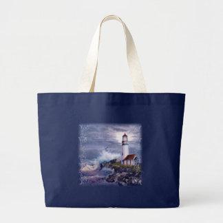 Umpqua lighthouse painting on jumbo tote bag