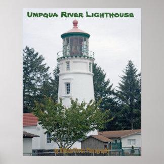 Umpqua River Light with Tree Poster