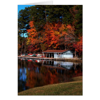 Umstead Boat Dock in Autumn Card