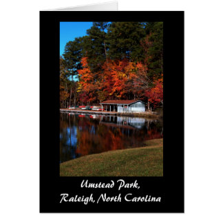 Umstead Boat Dock in Autumn Exterior Text Card
