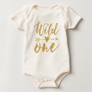 Un 1r cumpleaños salvaje del | de oro body para bebé