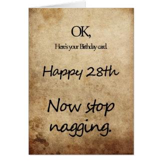 Un 28vo cuarto cumpleaños para una queja tarjeta de felicitación