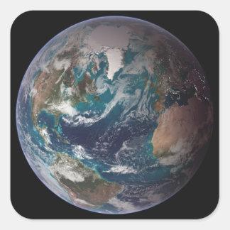 Un a la vista de la tierra que muestra los datos pegatina cuadrada