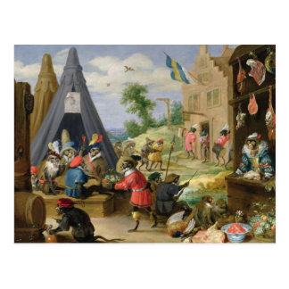 Un acampamento del mono tarjetas postales