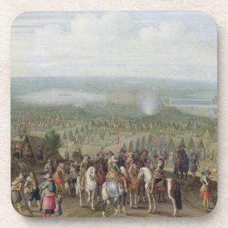 Un acampamento militar con la milicia en caballos, posavasos
