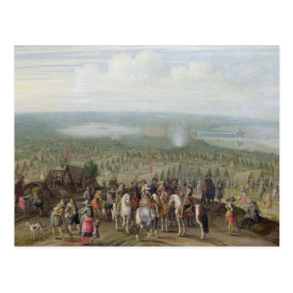 Un acampamento militar con la milicia en caballos, tarjeta postal