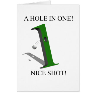 Un agujero en una pelota de golf tarjeton