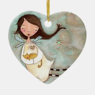 Un ala y un ronroneo adorno navideño de cerámica en forma de corazón