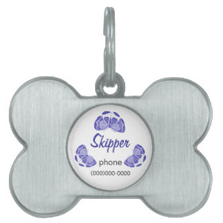 Un alboroto de mariposas púrpuras placas de mascota