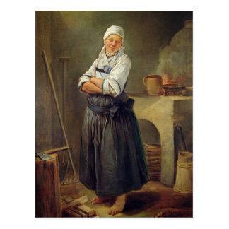 Un aldeano sajón en su cocina (aceite en lona) postal