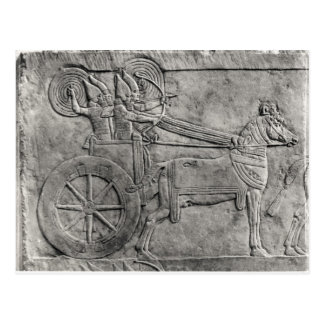 Un alivio que representa al ejército asirio en postal