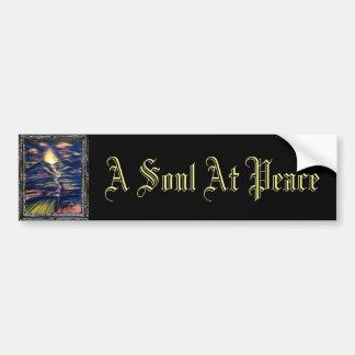 Un alma en la paz etiqueta de parachoque