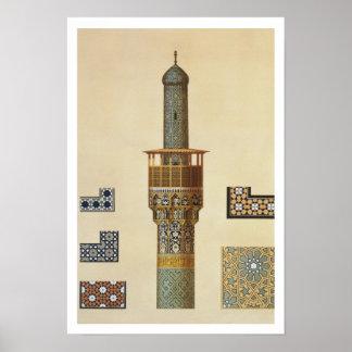 Un alminar y detalles de cerámica de la mezquita d póster