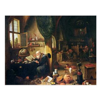 Un alquimista en su taller tarjeta postal