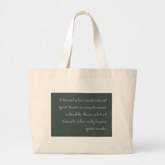 Un amigo valioso - poster inspirado de la cita bolsa tela grande