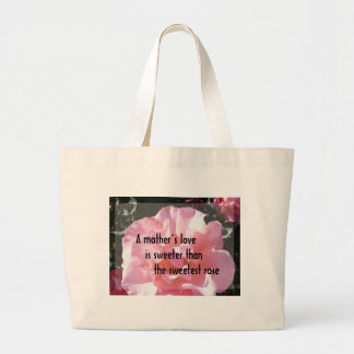 Un amor de madre - emblema color de rosa para la m bolsa tela grande