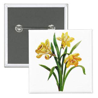 Un anfitrión de oro de narcisos bordados pin cuadrado