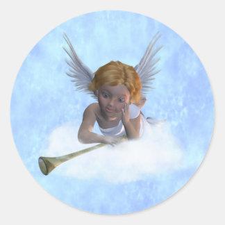 Un ángel cherubic dulce pegatina redonda