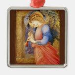 Un ángel que juega una chirimia adorno navideño cuadrado de metal