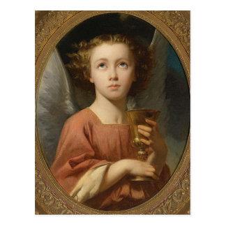"""""""Un ángel que sostiene postal del arte del vintage"""