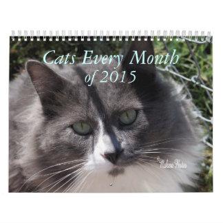 Un año de gatos - personalizar a cualquier año calendarios de pared