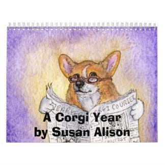 Un año del Corgi de Susan Alison Calendario De Pared