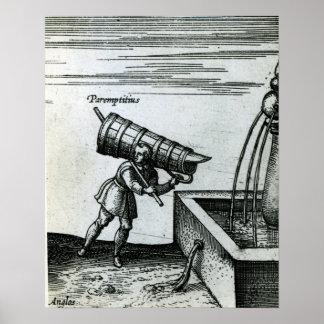Un aprendiz que trae el agua de una fuente posters